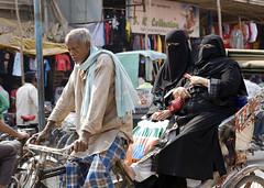Street Scene, Varanasi, India (klauslang99) Tags: klauslang travel photography varanasi india muslim women traffic streetphotography
