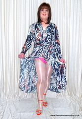 Rise and shine (janegeetgirl2) Tags: transvestite crossdresser crossdressing tgirl tv trans jane gee gordon fawcett makeover monsoon silk dress orange high heels ts