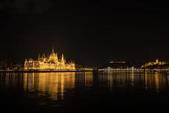 Night (hanschristian_nielsen) Tags: budapest hungary danube river water night nightshot parliament bridge city hill gellerthill castle