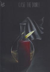 Close the door (Klaas van den Burg) Tags: molotovcoctail coloredpencils humor stilllife absurd draft windy cloth bottle fuel candle