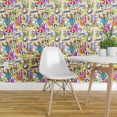 wallpaper mockup (Karen Del) Tags: spoonflower karendelpellegrino colorful whimsical wallpaper carousel sailboat kids handdrawn ferriswheel hotairballoons homedecor candy