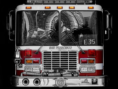 Through the eyes of Engine 35 (Robin Wechsler) Tags: firetruck fireengine architecture buildings reflection transportation sanfrancisco sffd