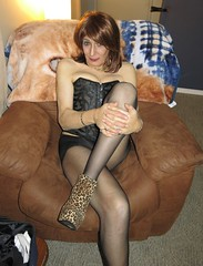 Another risky shot (ericaklein8) Tags: legs stockings pantyhose heels shoes boots sexy hot cute redhead boobs clevage breasts td ts tv tranny transgender tgirl fetish sitting seductive sensuel lingerie