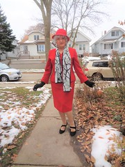Laurette's No. One Rule For Overcoming Any Innate Shyness: (Laurette Victoria) Tags: heels suit scarf red hat silver gloves woman laurette