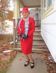 Old Lady, Old Suit (Laurette Victoria) Tags: suit red heels scarf silver hat gloves laurette woman lady