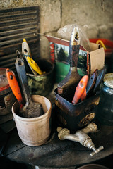 Different colorful brushes in the buckets on the table (shixart1985) Tags: abstract art artist blue brush bucket color colorful concrete construction corner craftsman decorate decoration design designer different dirty garage home house improvement indoors interior lifestyle nobody oil old paint painter plastic repair set table texture tool vintage wooden worker