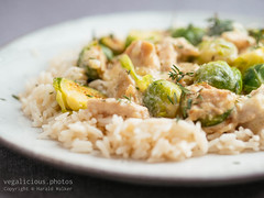 Vegan Chickun And Brussels Sprouts Alfredo (haraldwalker) Tags: vegetable meatless sauce meatalternative chickun plate healthy vegan alfredo food dinner homemade brusselssprout rice freshness alfredosauce vegetarian meal readytoeat soyprotein meatsubstitute brusselssprouts