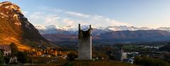La vieille tour (Fab. A) Tags: paysage panorama panoramique landscape mountains montagnes neige nature ruines castle chateau sunset couchédesoleil