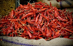 Dare You! (The Spirit of the World ( On and Off)) Tags: peppers produce bag openairmarket market udaipur rajasthan india marketplace asia burlap hot heat food chillies red redchilles