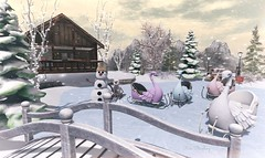 Delighted of your visit (Rose Sternberg) Tags: deco decor home furniture garden interior outdoor landscape second life november 2019 exclusive for the enchantment event snow angels gacha hunt gift bee designs ice skate park christmas lane queen sled snowy bridge