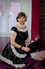 Maid (blackietv) Tags: maid dress gown black white satin petticoat lace apron tgirl crossdresser crossdressing transgender