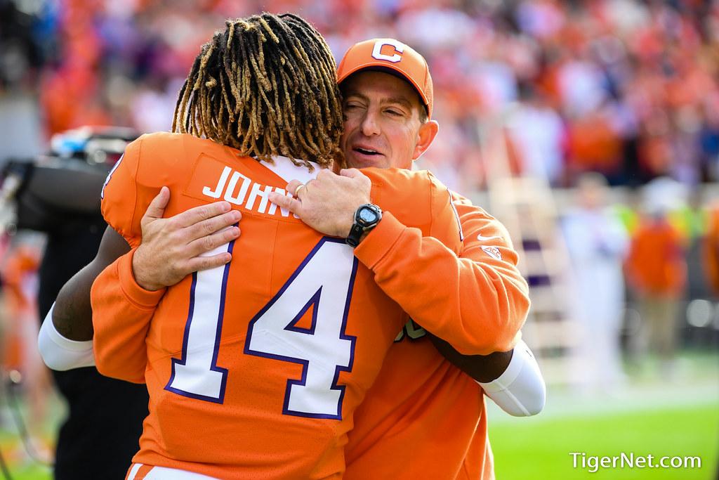 Clemson Photos: Dabo  Swinney, Denzel  Johnson, 2019, Football, Wake  Forest