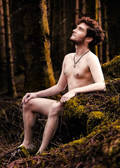 Cillian in the woods (zeon7) Tags: male man nude trees moss wood stumps evening red head arms legs
