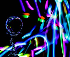 Disco (Karen_Chappell) Tags: ball orb sphere round glass led lights black colours color colors colour multicoloured glow lightpainting longexposure stilllife refraction blue purple red green colourful