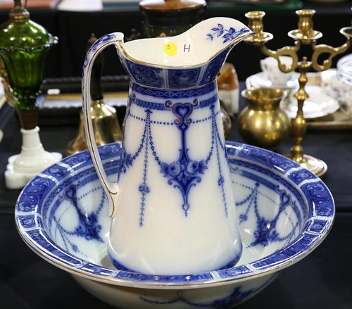 Flow Blue Wash bowl and pitcher ($123.20)