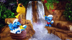 Smurfing down by the falls (custombase) Tags: schleich thesmurfs figures bath shower waterfall stream forest smurf smurfs diorama toyphotography rubber ducky rubberduck