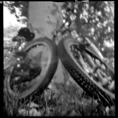 2526 Wheel 2 Wheel. (Monobod 1) Tags: lomo dianaf pinhole lensless ilford hp5 rodinal epsonv800 bw
