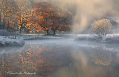 Changing Of The Seasons (jeanette_lea) Tags: landscape united kingdom river brathay elterwater the lake district cumbria sunrise dawn lowlight mist autumn colours frost trees grass water reflections