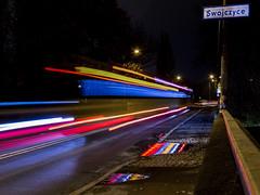 bus 115 (karwinho) Tags: city light traffic streak color colorful night longexposure line swojczyce wroclaw mostychrobrego road puddle