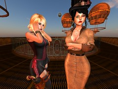 The Expedition ... Lost? (Cherie Langer) Tags: steampunk meeting tophat monocle brunette sunset scifi sf fantasy airship commander