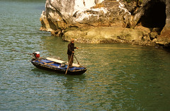 Fishing in Ha Long Bay (flexible fotography) Tags: asia southeastasia vietnam halongbay water man day daytime travel famous traveldestinations ocean sea nature outdoors outdoor outdoorphotography island islands landscape tranquil tranquility peace serene serenity karsts limestone limestonekarst boat fishingboat fishinginhalongbay