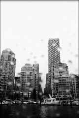 Another Rainy Sunday (Marcia Portess-Thanks for a million+ views.) Tags: sailboats urban ciudad city raindrops rainyday rain blancoynegro byn bw blackandwhite vancouverhouse condos highrise sea ocean mar aqua water boats marina falsecreeknorth westend canada britishcolumbia vancouver marciaportess marciaaportess map anotherrainysunday