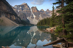 Moraine Lake on a Quiet Summer Morning (Samantha Decker) Tags: canonef1635mmf28liiusm ab parkscanada canadianrockies rockymountains alberta canada canoneos6d samanthadecker morainelake banffnationalpark improvementdistrictno09
