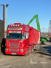"""MX60BDF Scania R580 V8 loaded for Liverpool (Mark Schofield @ JB Schofield) Tags: road transport haulage freight truck wagon lorry commercial vehicle hgv lgv haulier contractor scrap scrapmetal yard cast iron metal recyclers merchants processors schofield """"jb schofield"""" huddersfield yorkshire linthwaite scraphandler crane site stock pile stack sennebogen 830e 825e"""