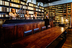 Library at the Plantin-Moretus Museum (Brett of Binnshire) Tags: sculpture art table furniture library books antwerp historicalsite plantinmoretusmuseum lrhdr on1raw museum architecture globe belgium manipulations hdr highdynamicrange antwerpprovince lightroomhdr historicalitems locationrecorded bust
