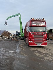 """PL13KFN Scania V8 R620 loaded for Liverpool (Mark Schofield @ JB Schofield) Tags: road transport haulage freight truck wagon lorry commercial vehicle hgv lgv haulier contractor scrap scrapmetal yard cast iron metal recyclers merchants processors schofield """"jb schofield"""" huddersfield yorkshire linthwaite scraphandler crane site stock pile stack sennebogen 830e 825e"""