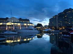 St Katherine Docks at the blue hour (marc.barrot) Tags: shotoniphone urbanlandscape boats marina bluehour uk e1w london wapping stkatherinedocks