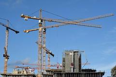 Sky Cranes (eigjb) Tags: dublin city ireland river liffey hometown 2019 dublins fair buildings structures bleu sky crane construction