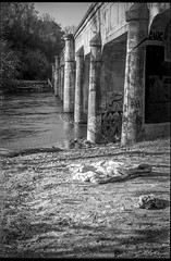abandoned quilt, jeans, river bank, railroad bridge, pillars, graffiti, French Broad River, Asheville, NC, Minolta XG-M, Super Albinon 28mm f/2.8, Derev Pan 400, HC-110 developer, 11.13.19 (steve aimone) Tags: quilt jeans abandoned railroadbridge pillars graffiti frenchbroadriver asheville northcarolina minoltaxgm superalbinon28mmf28 primelens derevpan400 hc110developer 35mm 35mmfilm film blackandwhite monochrome monochromatic urbandecay urbanlandscape
