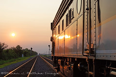 Thankful (choochooloco) Tags: norfolksouthern officecarspecial ns chicagoline f9a coveredwagon sunset emd soe
