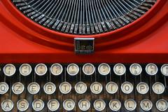 Olivetti typewriter (Thomas Roland) Tags: typewriter olivetti red skrivemaskine rød detail museodellartedellalana stia casentino wool museum uld europe europa italy italia italien sommer summer nikon d7000 travel rejse toscana tuscany by stadt town