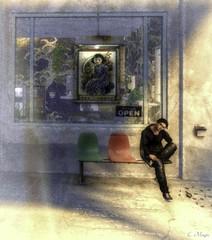 Waiting (Loegan Magic) Tags: secondlife male casual sitting waiting buildingbench