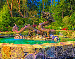 beware the green-ey'd monster (writing - invisible at times) Tags: monster jealousy statuary japanesegarden butchartgardens vancouverisland britishcolumbia canada