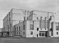 A Depot Moderne: Front view of the newly-built Union Station in Omaha, Nebraska November 1938. (polkbritton) Tags: johnvachon 1930s fsaowi nebraskahistory libraryofcongresscollections streetphotography artdeco architecture unionstation