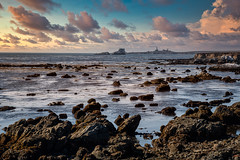 Harbor's Calm (larwbuck) Tags: landscape autumn california clouds fall lighthouse ocean rocks seascape structure sunset travel water