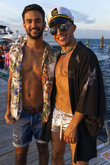 A6400539 v2 (Wheels Down) Tags: fip fireislandpines pose handsome hotties harbor bay dock shorts tan sunset captainshat openshirt barechest smile shortshorts mirror sunglasses shades