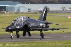 XX256 British Aerospace Hawk T.1/1A Royal Navy Prestwick airport EGPK 15.10-19 (rjonsen) Tags: plane airplane aircraft aviaiton miltary raf taxying airside