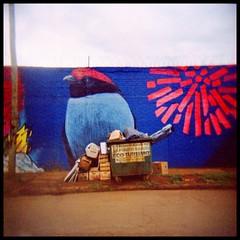 Mural (mavricich) Tags: calle color colores holga street kodak ektachrome cross slide diapositiva lofi argentina árbol flor film sky nublado hamaca plaza cesped juego mural pared wall trash basura