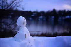 Did You Want to Build a Snowman? (flashfix) Tags: november182019 2019inphotos flashfix flashfixphotography ottawa ontario canada nikond7100 40mm snowman lake blues bluehour winter snow bokeh