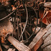 Old weathered hydraulic connections on IMT 558 excavator