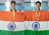 "International Gold Medal winner Sanket Mittal and Bhavesh Lada with the National Flag • <a style=""font-size:0.8em;"" href=""http://www.flickr.com/photos/99996830@N03/49093244933/"" target=""_blank"">View on Flickr</a>"