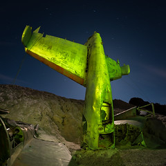 School of hard knocks (Nocturnal Bob) Tags: plane wreck crash tail section long exposure full moon sony a7r lightpainting light painting protomachines radium led6 samyang 12mm f28 ed as ncs fisheye