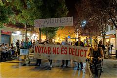 Voting Is Not A Crime   Blanes, Catalonia (Flemming J. Gade) Tags: catalan anniversary 10 freedom freeomforthepoliticalprisoners votingisnotacrime yellow yellowribbon blanes catalonia manifestation