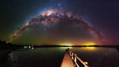 Milky Way at Lake Towerrinning, Western Australia (inefekt69) Tags: milkyway lake towerrinning panorama stitched mosaic reflections ms ice milky way cosmology southern hemisphere cosmos western australia dslr long exposure rural night photography nikon stars astronomy space galaxy astrophotography outdoor core great rift ancient sky d5500 landscape nikkor prime wheatbelt 50mm ioptron skytracker hoya red intensifier carina nebulae north america nebula jetty dock water