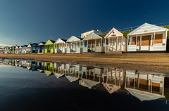 Beach Huts (selvagedavid38) Tags: refelection puddle water pastel beach coast seaside suffolk southwold sea blue colours perspective building wooden