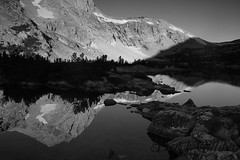 A Peak Reflcted (photography by Derek G) Tags: blackandwhite black white landscape wilderness highsierra mountains backpacking camping hiking wildernesswandering wandering lake reflection water shadow dramatic fineart morning sunrise early alpineglow glow light dark